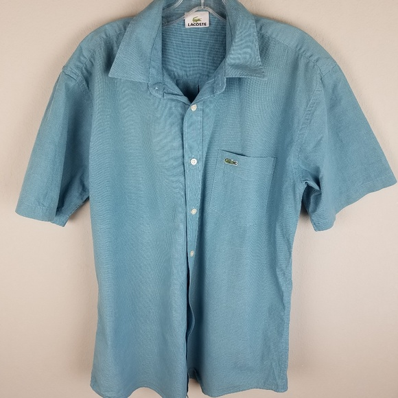 9ff8dc2d Men's Lacoste Button Down Short Sleeve Size 7 Blue